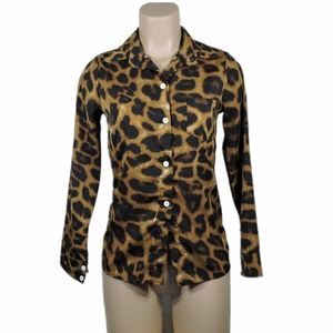 Leophard print button down shirt size Small